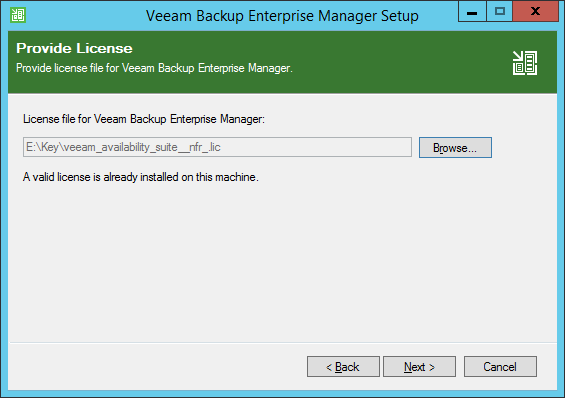 Enter licence file for Enterprise Manager