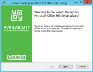 Installation wizard of Veeeam Office 365