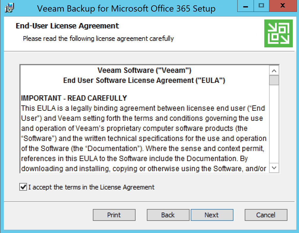 Accept Veeam EULA for Backup Office 365