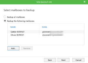Select Mailbox to backup on Veeam for Office 365