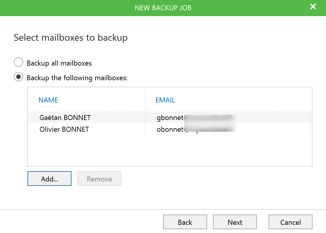 Select Mailbox to backup