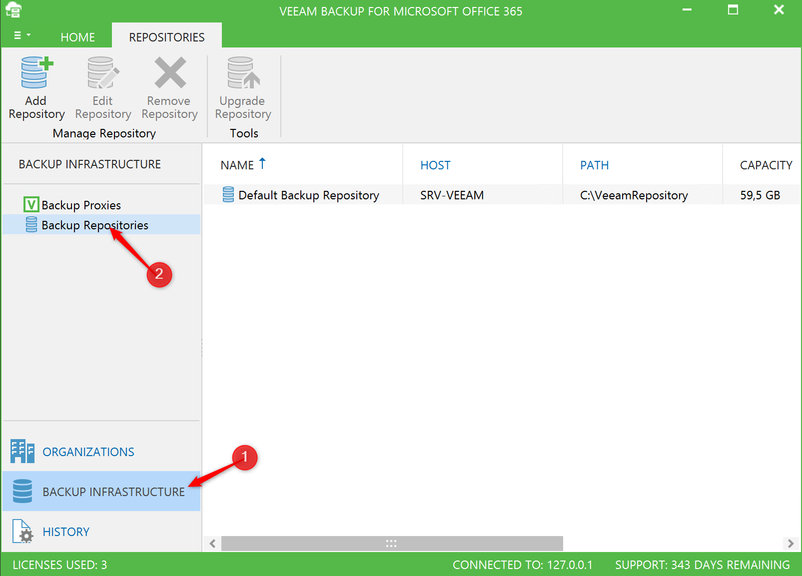 Select Veeam Backup Repositories Backup Office 365