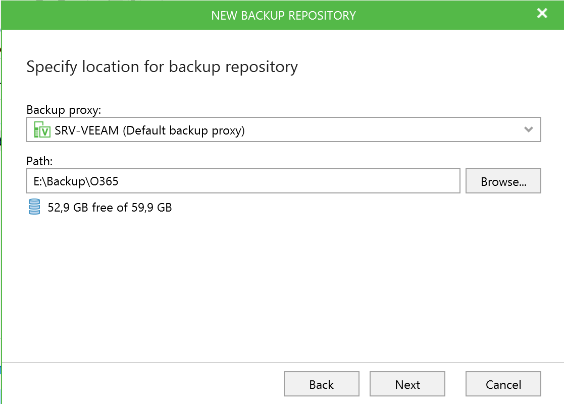 Specify location for Veeam Backup Office 365