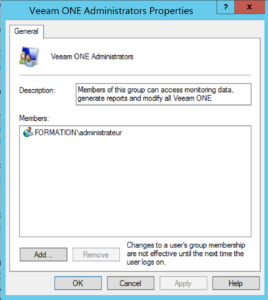 Add account service veeam one on administrators groups