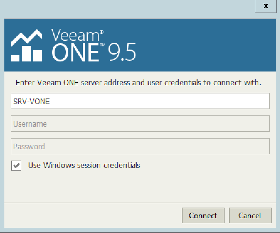 Click Connect to connect on Veeam One