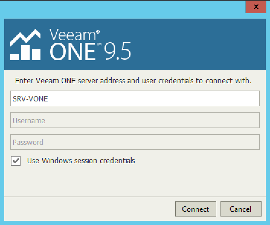 Open session on Veeam One Monitor