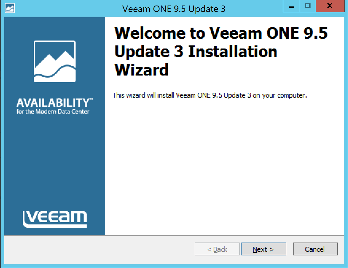 Wizard for update Veeam One
