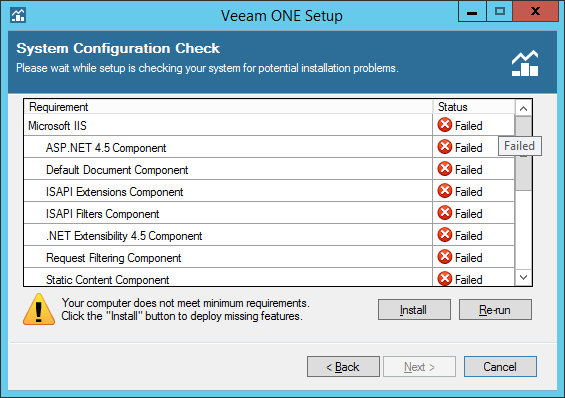 Install functionnality for Veeam One