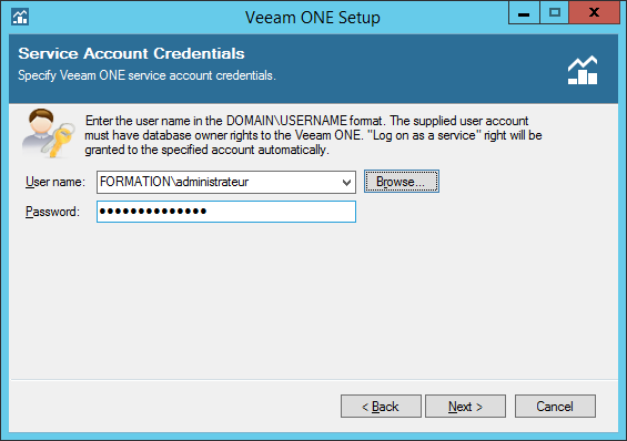 Enter the credential for the account service.
