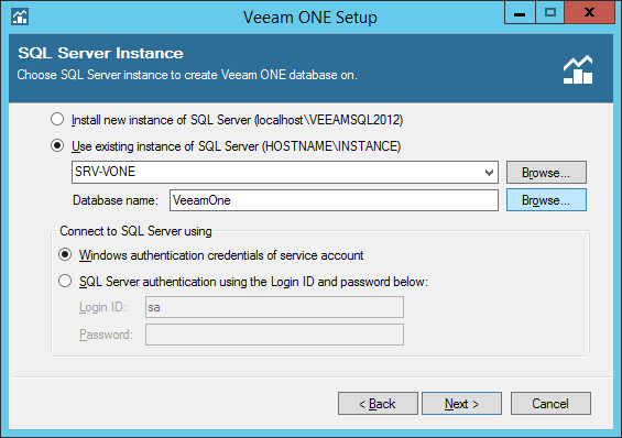 Configure SQL instance on Veeam One