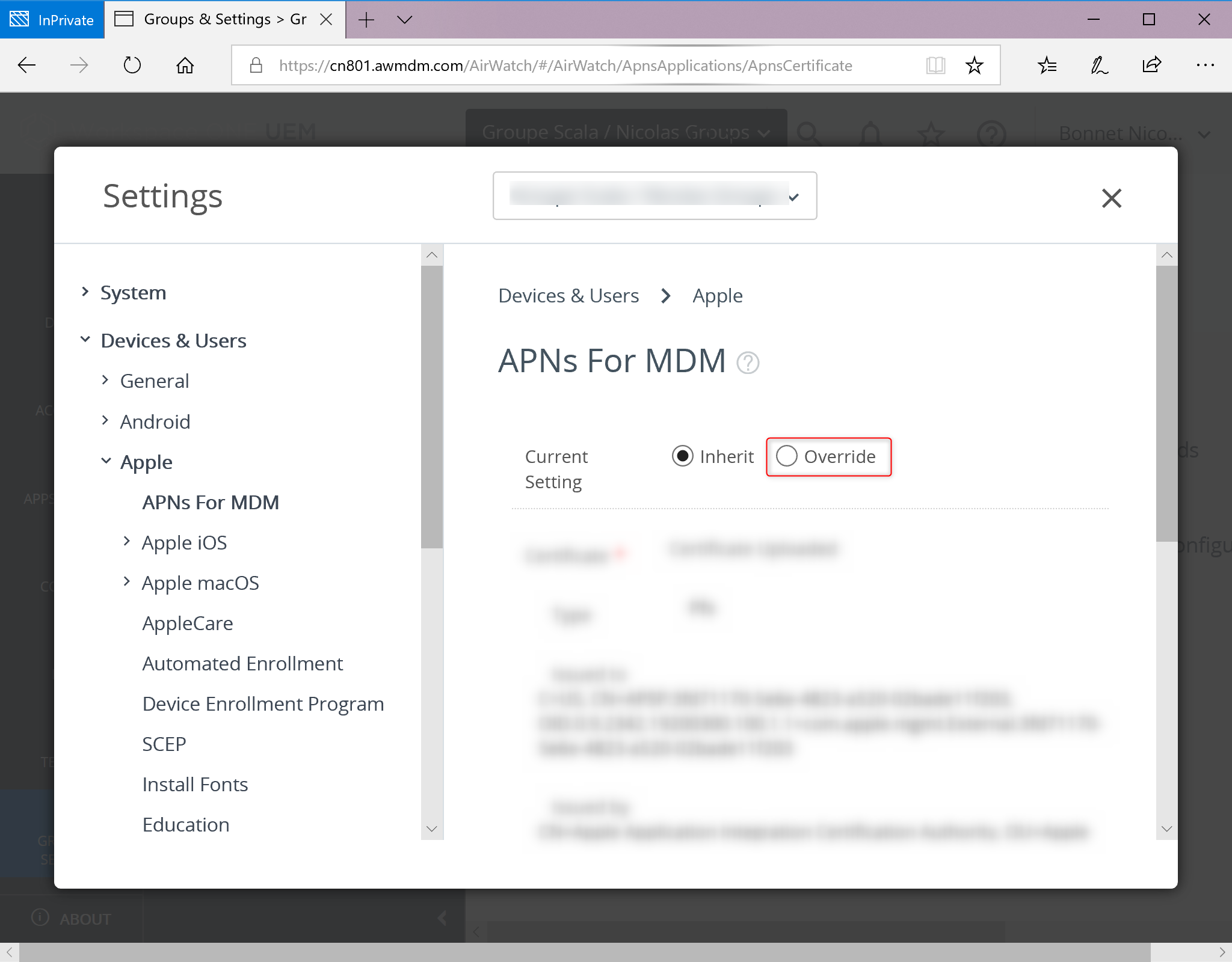 Configure APNs for MDM Certificate for IOS device