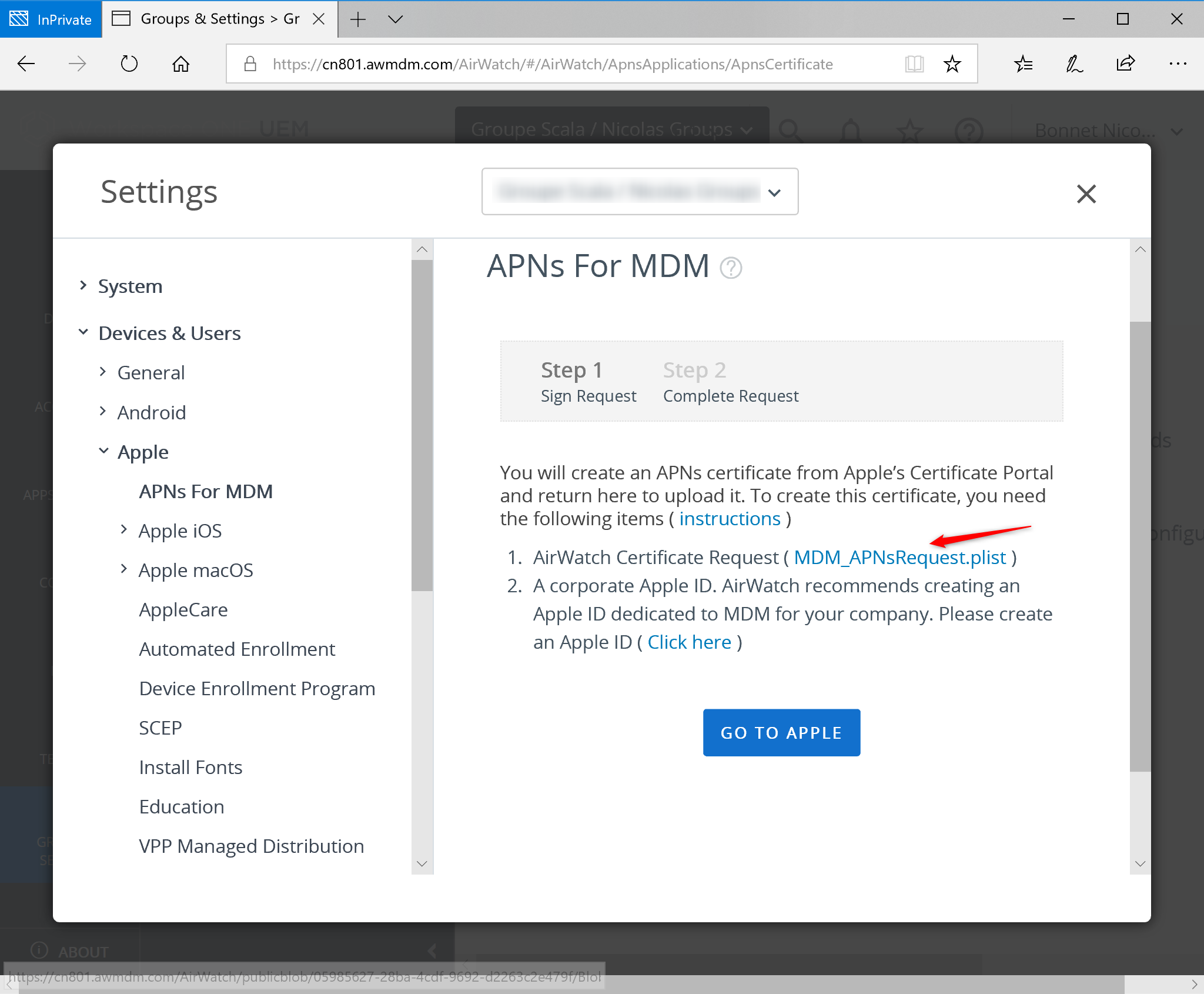 Download MDM APNs Request Certificate for IOS device
