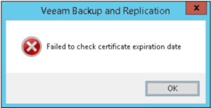 Error Message Certificate expired Veeam
