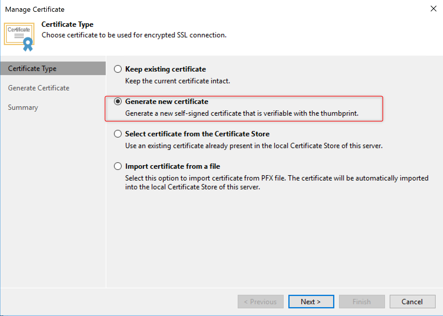 Generate certificate Self-signed certificates issue - KB2806