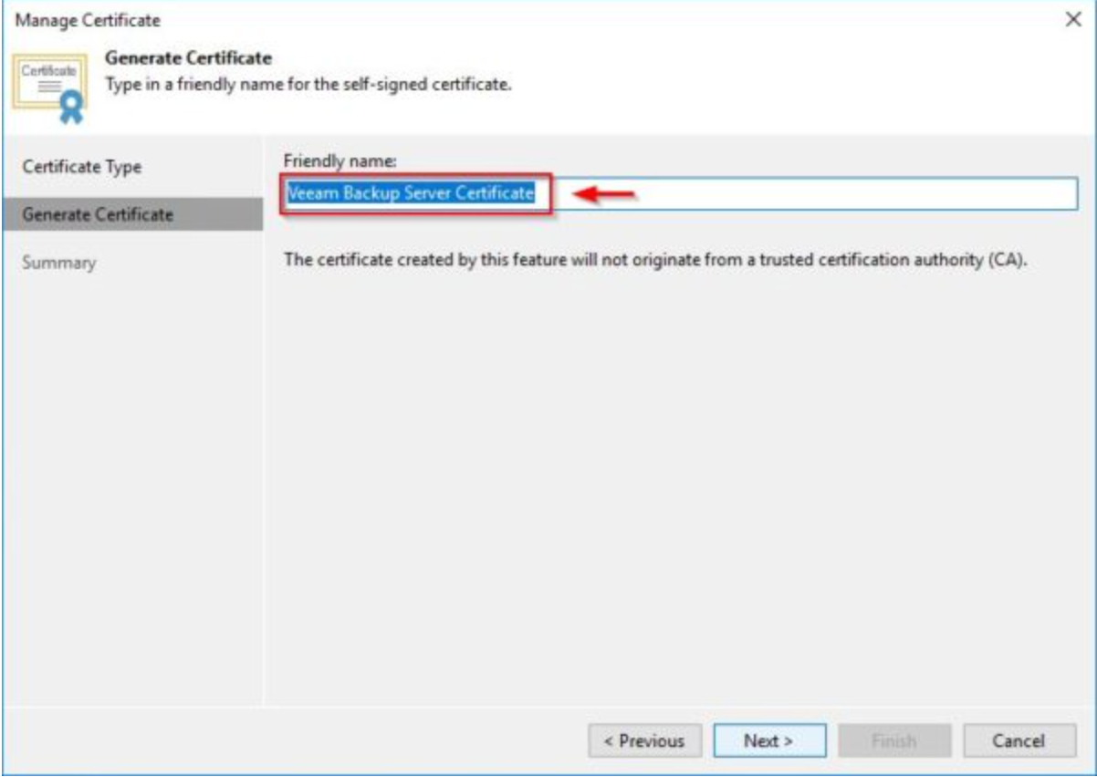 Generate Veeam certificate 1 Self-signed certificates issue - KB2806
