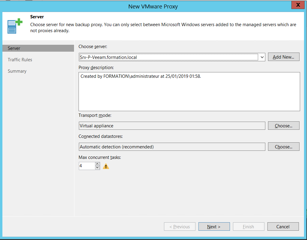 Add new VMware proxy server