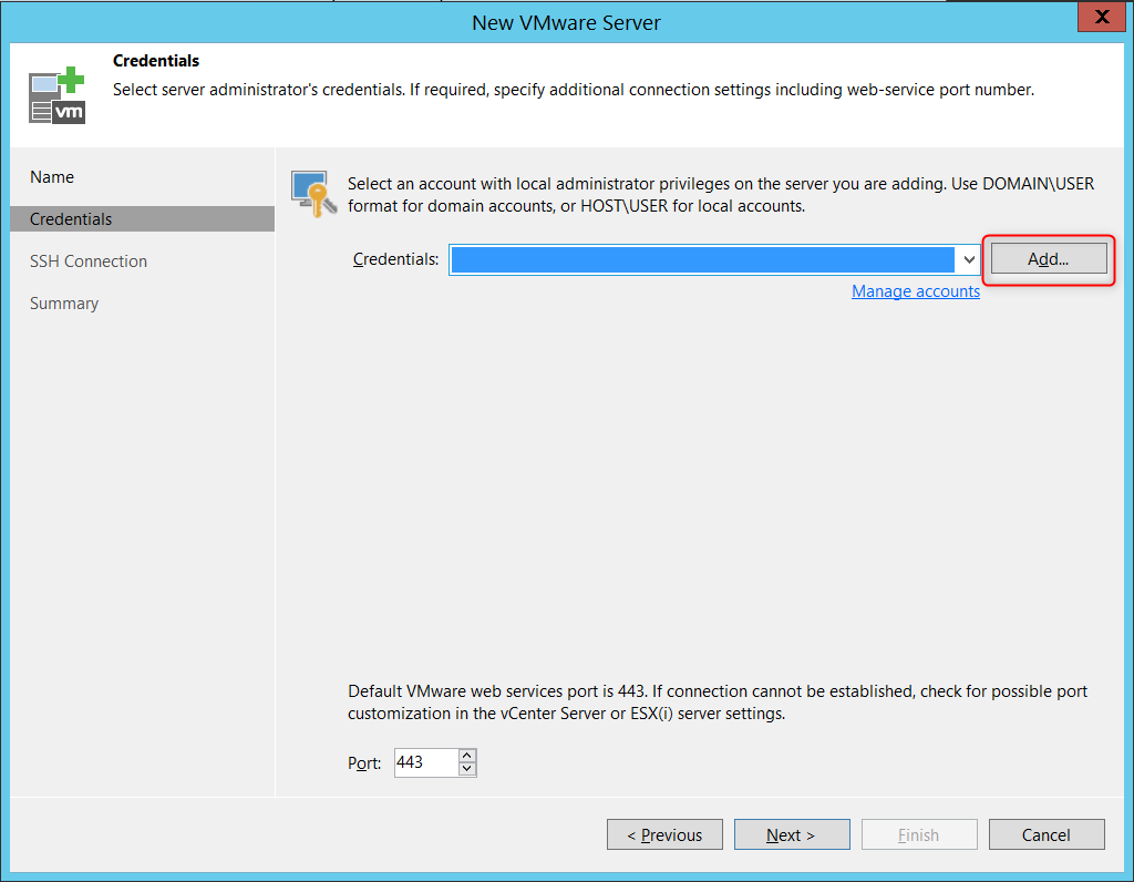 Add credential vCenter Console Virtual Applicance mode