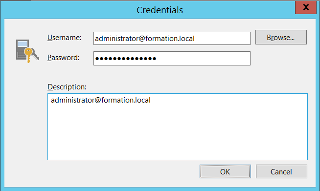 Add Credential  Console Virtual Applicance mode