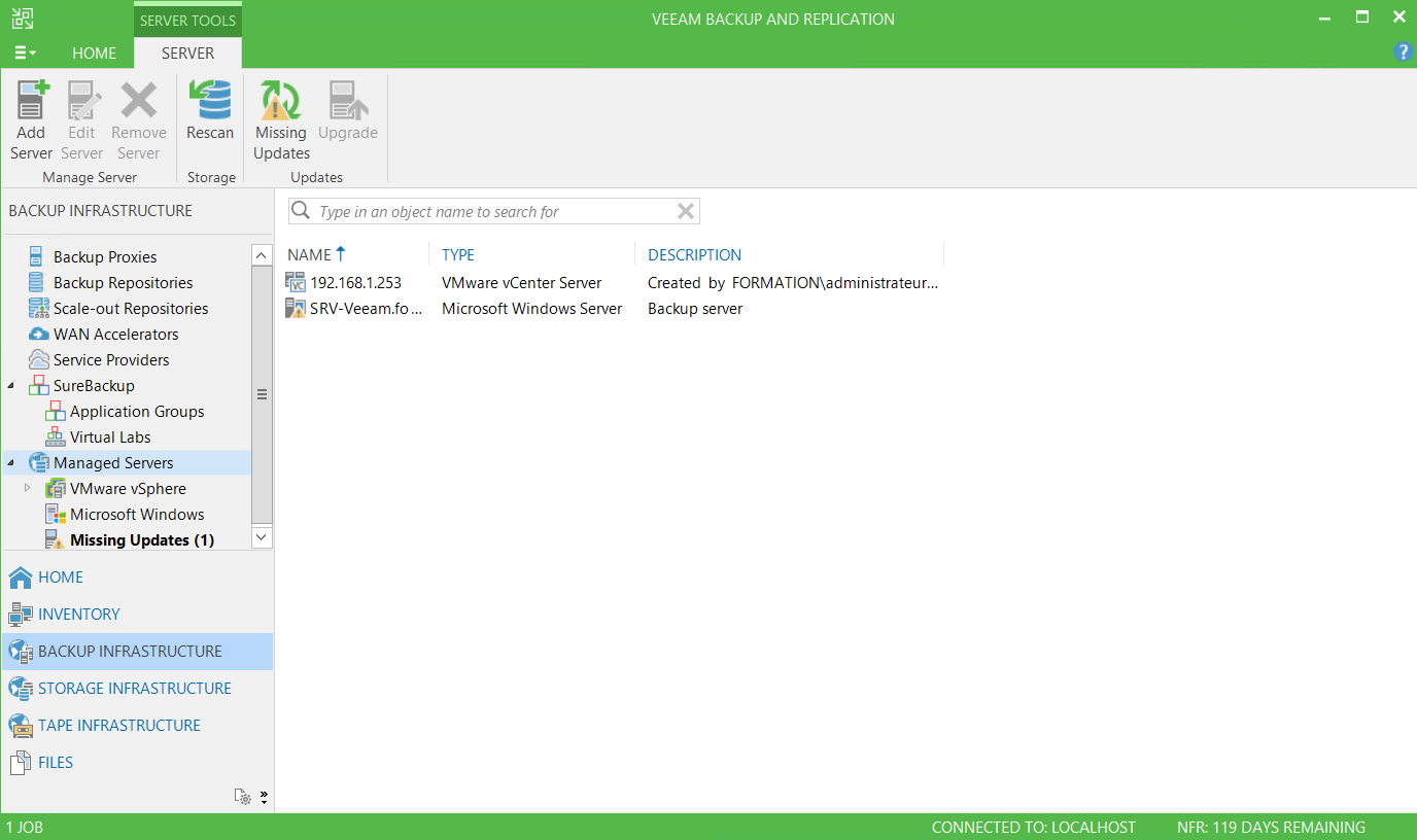 vCenter on Veeam console Virtual Applicance mode