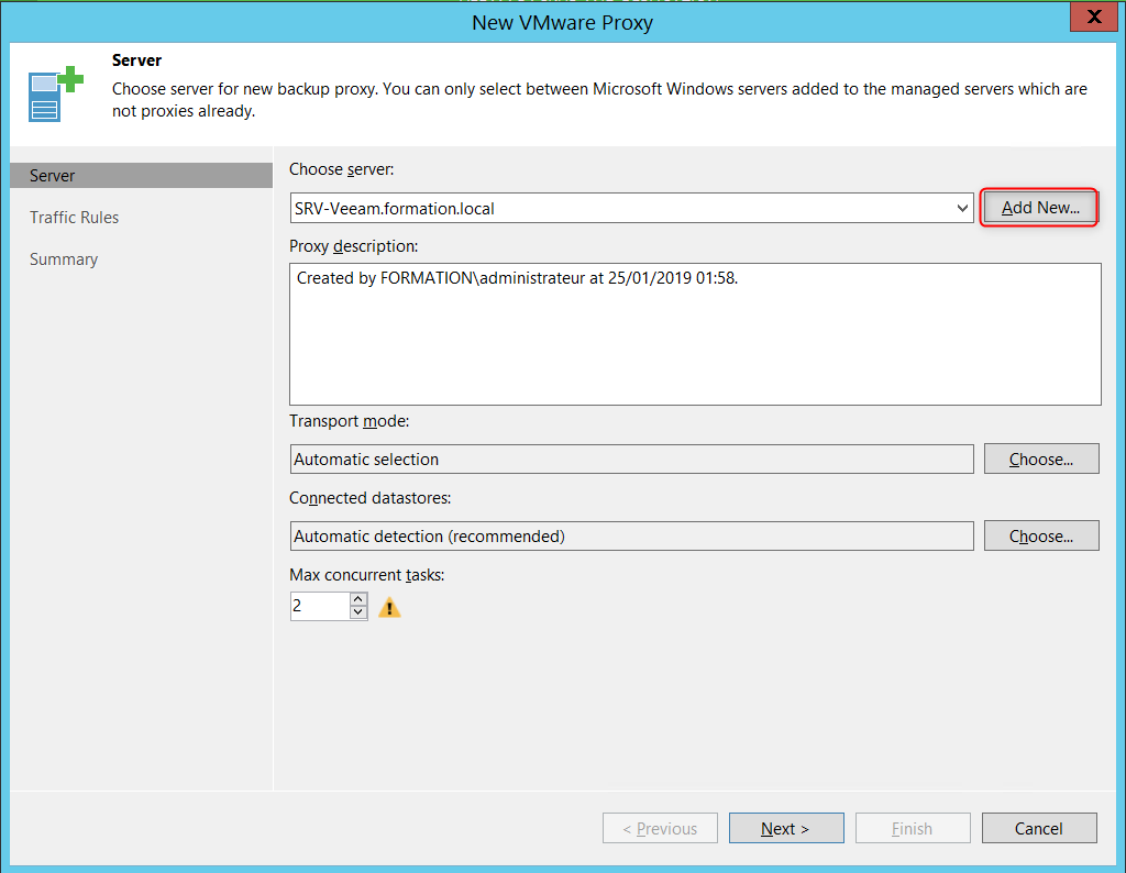 Add news proxies server on Veeam  console Virtual Applicance mode