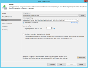 Configure backup proxy and backup repository.