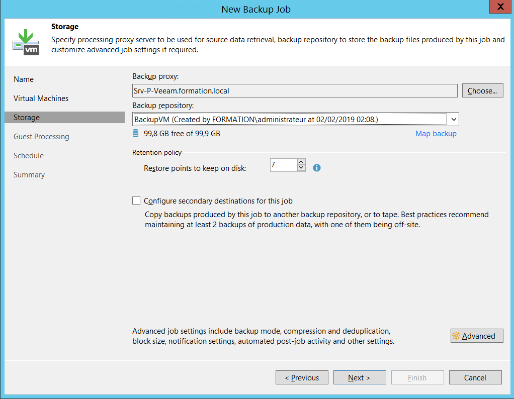 Configure backup proxy and backup repository Backup VM with Veeam