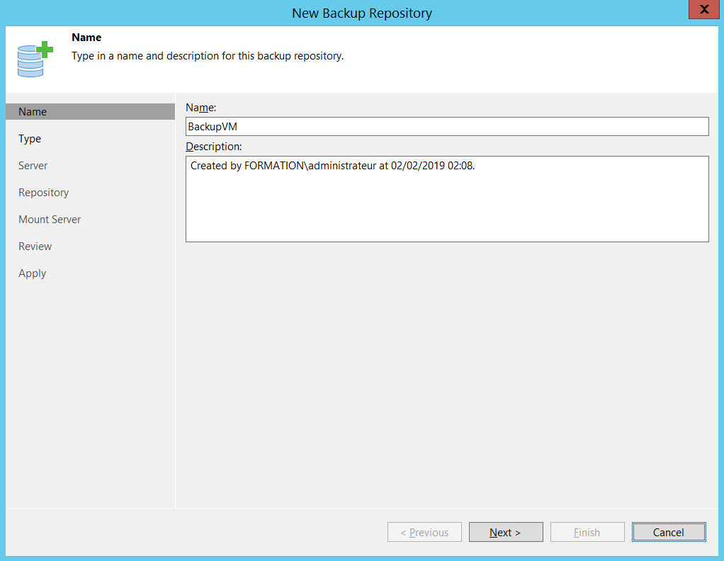 Name of Backup repository