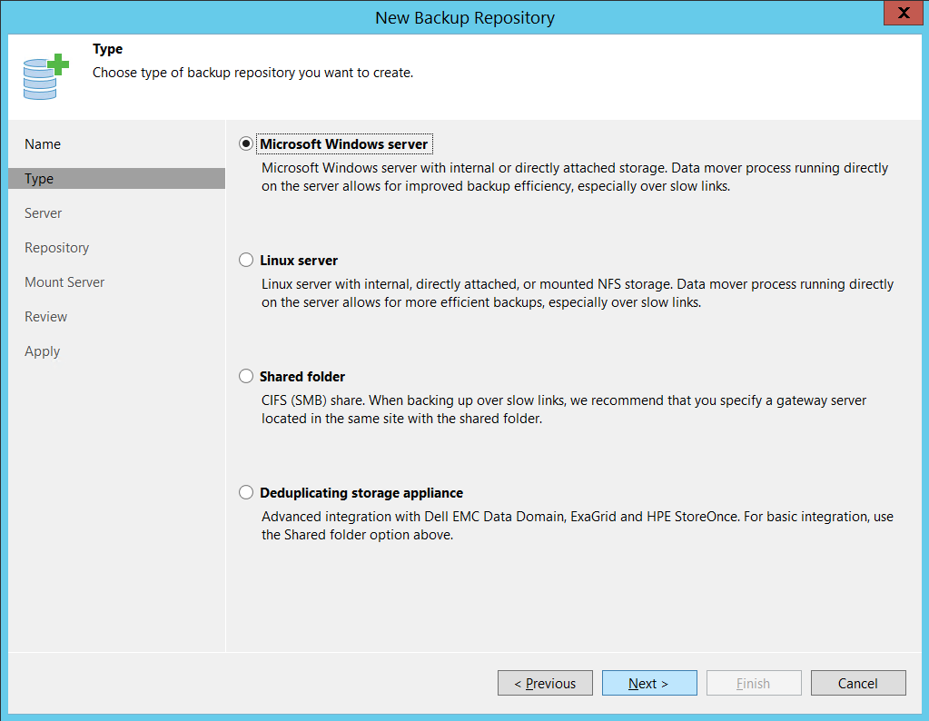 Choose type of Backup repository up