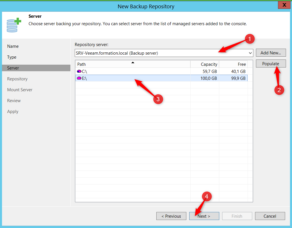 Select volume desired Backup VM with Veeam