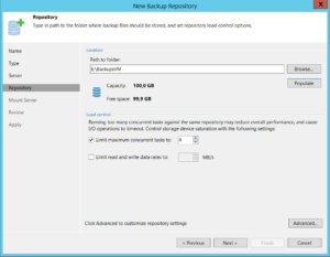 Select path for backup repositories