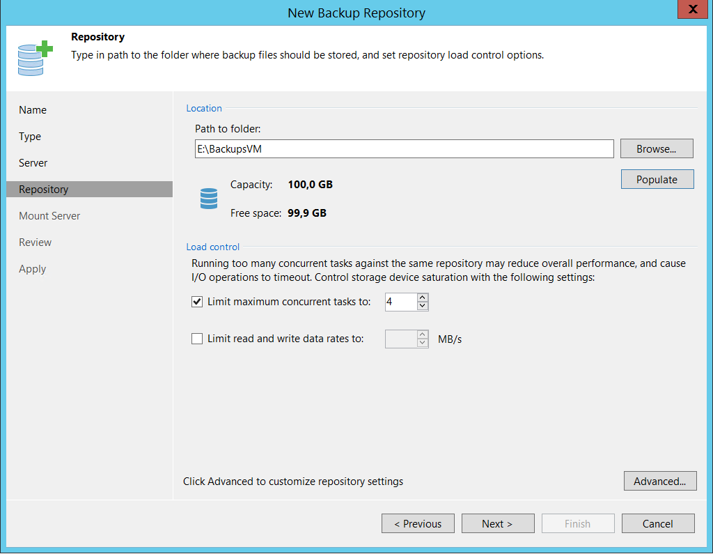 Select path for backup repositories Backup VM with Veeam