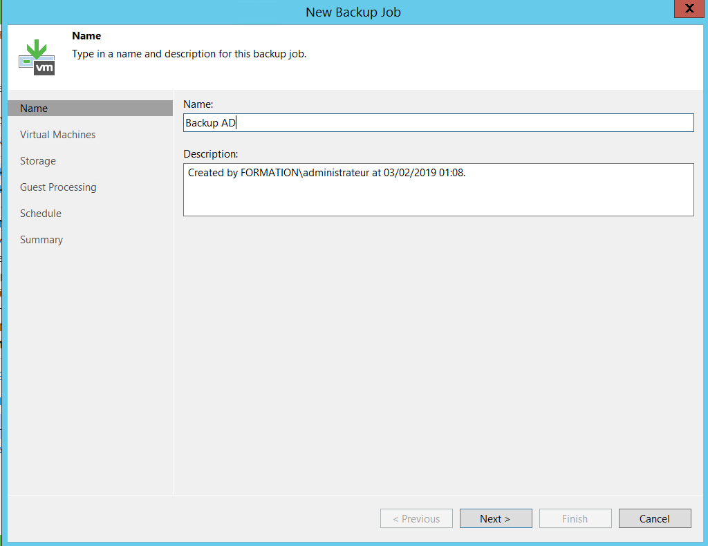 Wizard for backup job on Veeam console