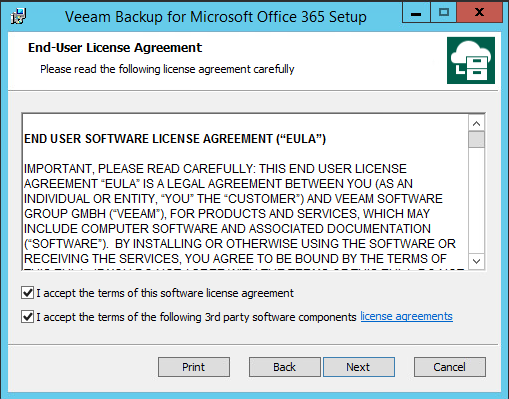 Accept End-User software licence agreement Modern Authentification on VBO 3.0