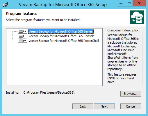 Select Program Features on the Veeam installation