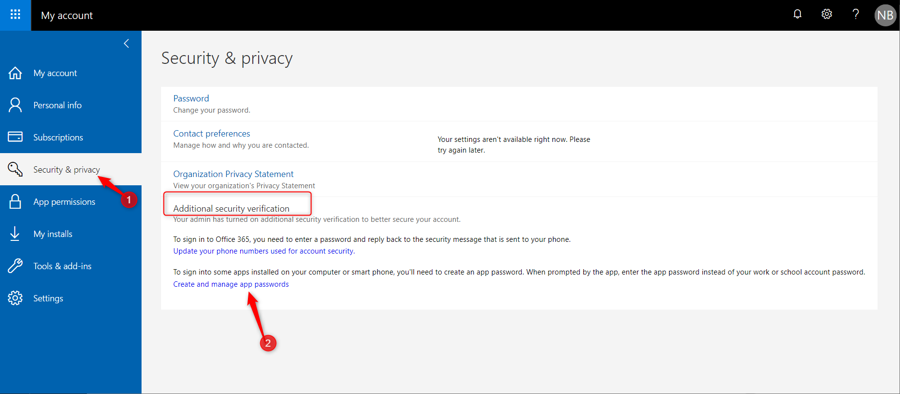 Configure security on Office 365 portal
