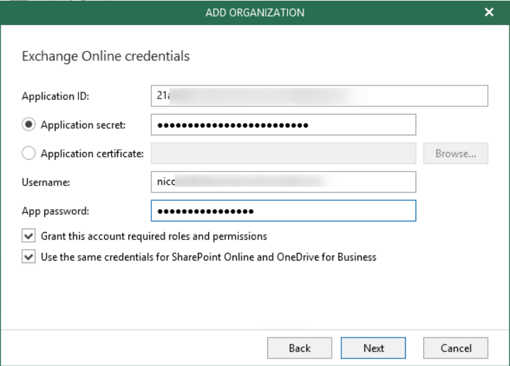 Copy password on the veeam console