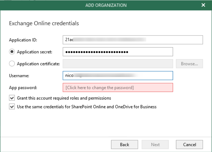 Configure VBO 3.0 with Application ID et Application Secret.