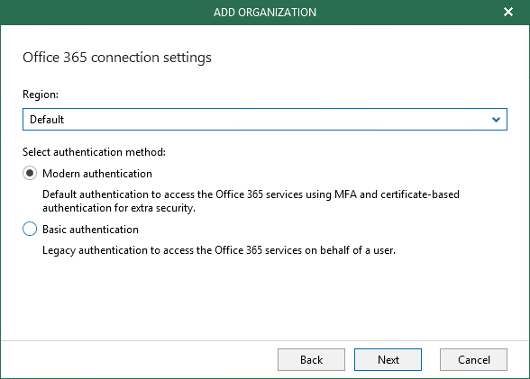 Choose authentification method for access at Office 365 Modern Authentification on VBO 3.0