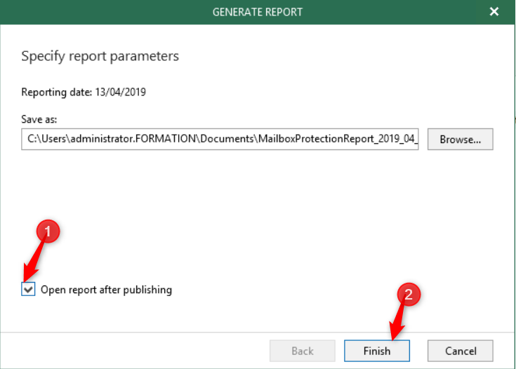 Generate Report Windows New functionnality on VBO 3.0