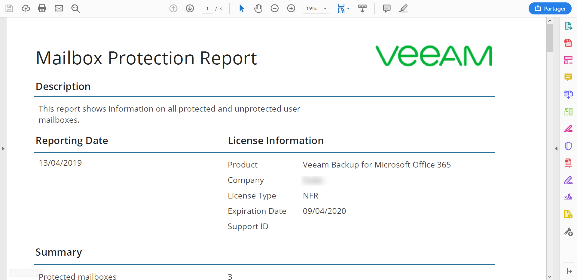 Information about licence on report New functionnality on VBO 3.0