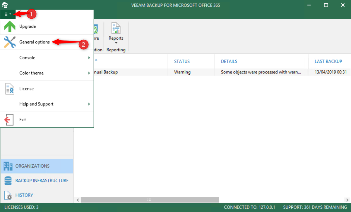 Access to the General Option for configure Proxy.