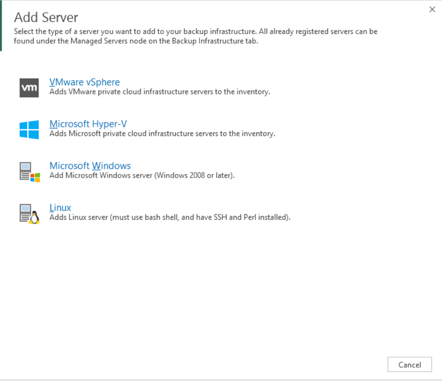 Select type server added on Veeam console Backup Hyper-V Server