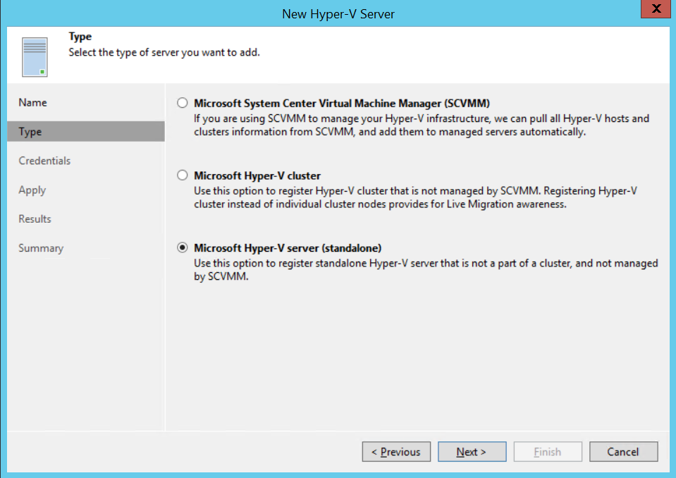 Select type of Hyper-V server
