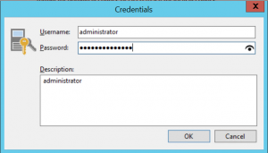 Enter credential of an adminsitrator account