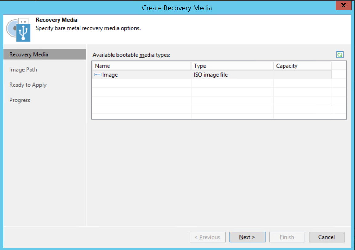 Create recovery media ISO Restore physical Windows computer