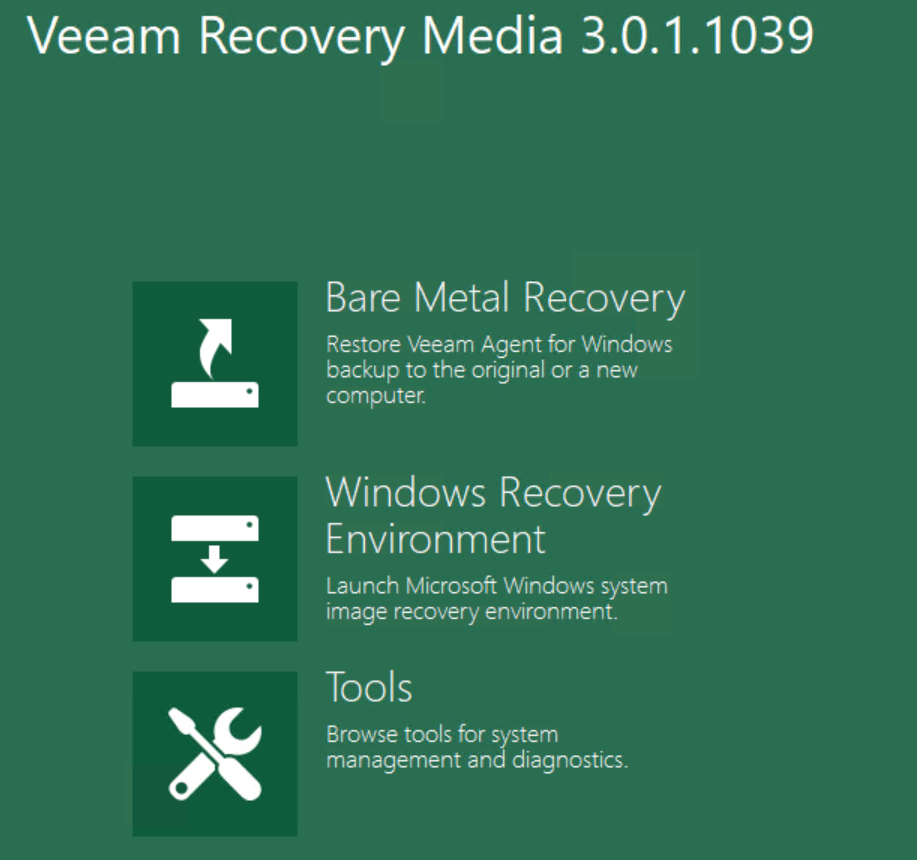 Select Bare Metal Recovery Restore physical Windows computer