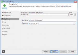 Enter Veeam server name and username/password
