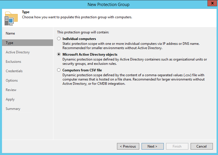 Import object with Microsoft Active Directory objects Backup physical Windows computer