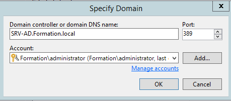 Select domain controller and choose account. Backup physical Windows computer