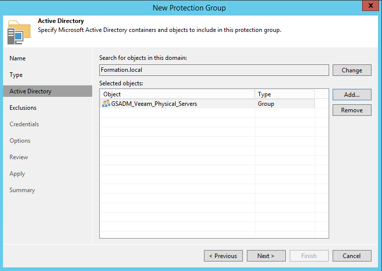 Select groups security with physical server